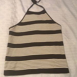 Black and white Armani exchange halter top